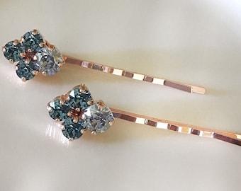 Dusty blue, Steel blue, crystal bobby pins, bridal, something blue, rhinestone hair pins, hair jewelry, blue