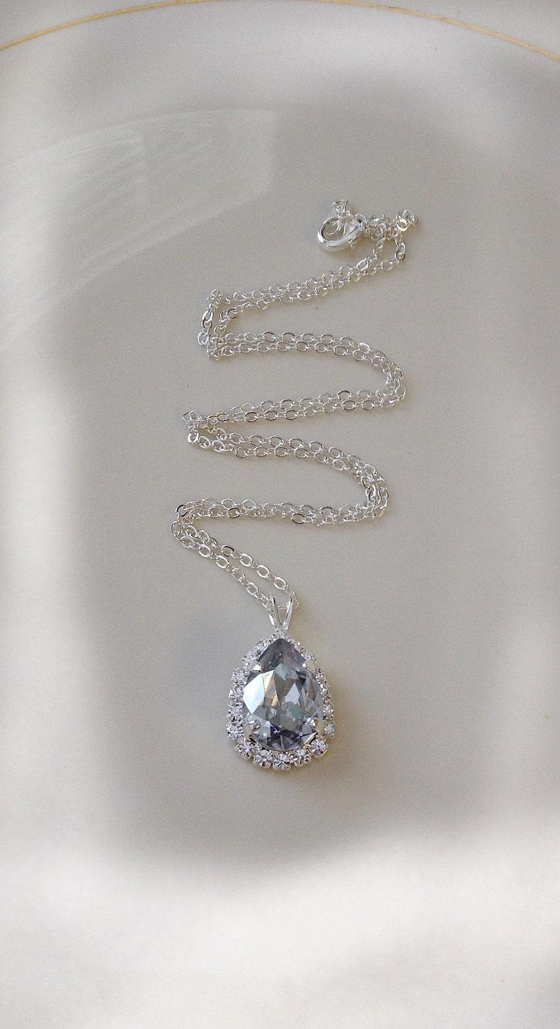 a0f8dfbf9 Dusty blue Swarovski crystal teardrop necklace halo pendant | Etsy