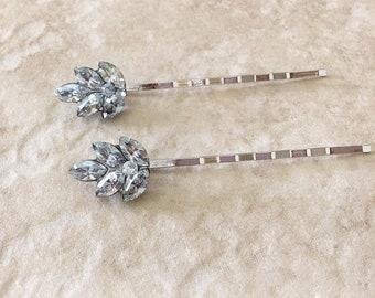 Pale dusty blue crystal leaf hair pins, rhinestone leaf bobby pins, bridesmaid gift, hair pin, hair, leaf, bridal something blue