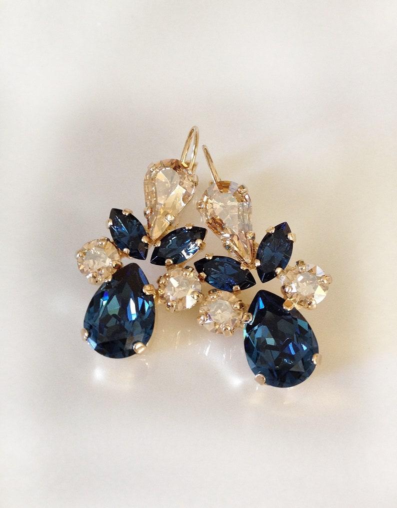 f7569c162 Swarovski crystal earrings champagne navy blue long   Etsy