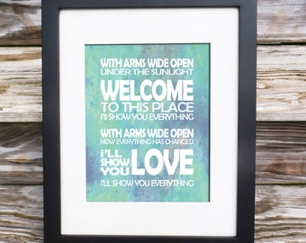 cebc37c8f1 Nursery Art - With Arms Wide Open - Creed Song Lyric Print - Typography  TEXT subway style - custom colors - Nursery Gift Poster