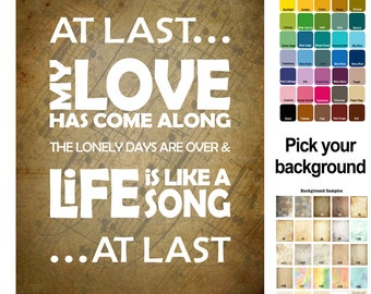 At Last - Etta James Song Lyric Print  - typography subway style - custom colors