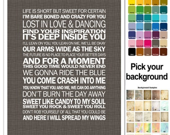 Song Lyric Print - Dave Matthews band - Collage of songs - typography subway style - custom colors