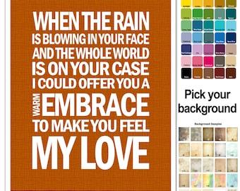 Adele or Garth Brooks Song Lyric Print - Make You Feel My Love- subway style - custom colors - engagement gift, bridal gift