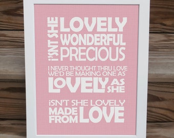 Stevie Wonder Song Lyric Print  -  Isnt She Lovely - typography subway style  - custom colors
