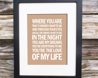 Love Of My Life - Song Lyric Print - typography subway style - custom colors -