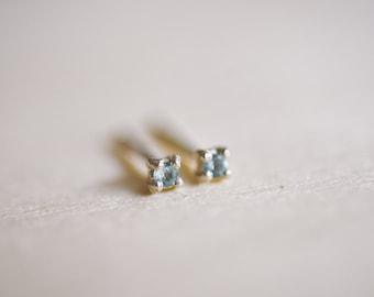 March Birthstone Mini Aquamarine Sterling Silver Studs