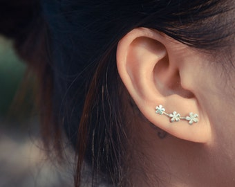 Three Snowflakes Sterling Silver Ear Climbers