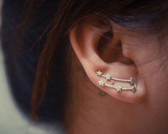 Gemini Zodiac Constellation Sterling Silver Ear Climbers