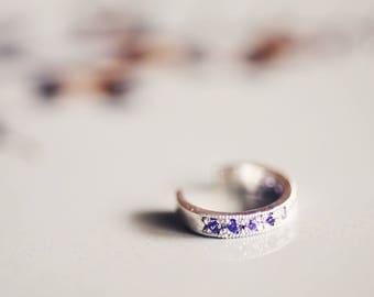 Purple Pave Ear Cuff Sterling Silver