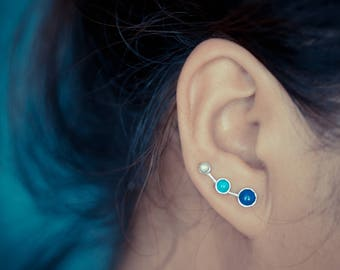 Lapis Lazuli Turquoise Moonstone Tri-Color Sterling Silver Ear Climbers