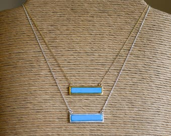 Turquoise Bar Necklace Sterling Silver
