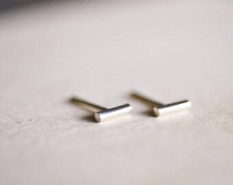 Wire Bar Sterling Silver Earring Studs