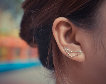 Capricorn Zodiac Constellation Sterling Silver Ear Climbers
