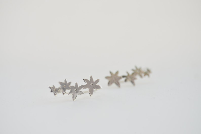 Flowers Sterling Silver Ear Climbers