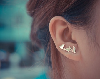 Three Birds Sterling Silver Ear Climbers | Flying Birds Ear Crawlers | Ear Sweeps | Bird Earrings