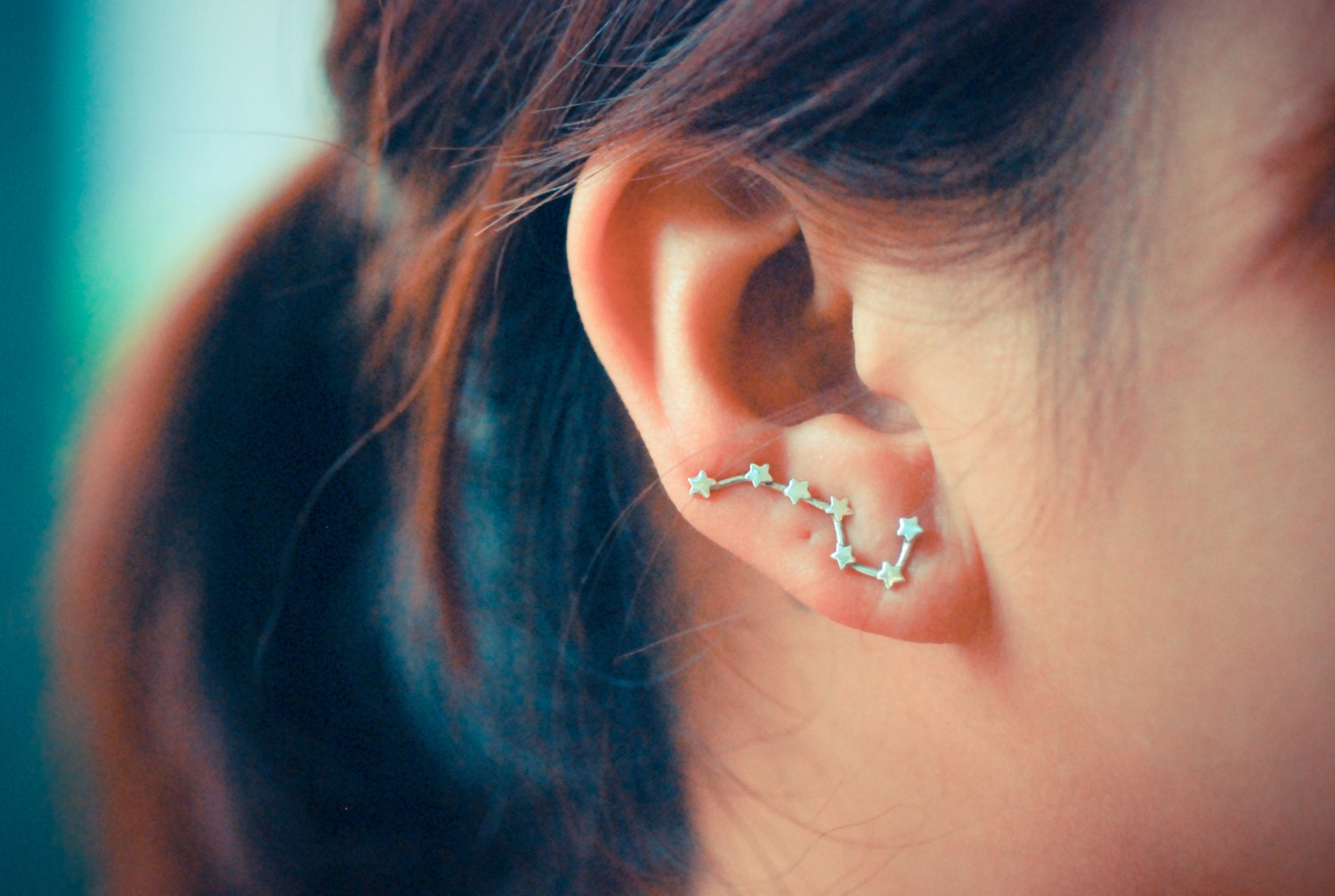 Big Dipper Constellation Sterling Silver Ear Climbers