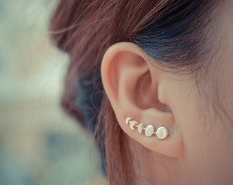 Moon Phases Lunar Phases Sterling Silver Ear Climbers Ear Sweeps Ear Crawlers Lunar Jewelry