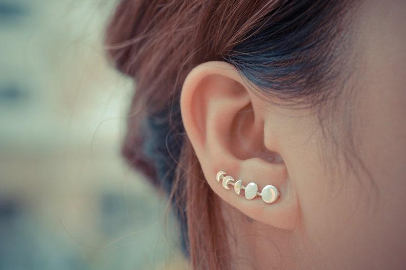 Moon Phases Sterling Silver Ear Climbers image 0