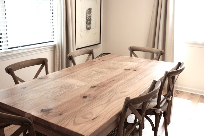 Farmhouse Dining Table, Reclaimed Wood Parsons Kitchen Table