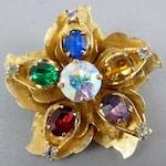 Warner Flower Brooch,Warner Rhinestone Brooch,Warner Flower Pin, Mid Century Rhinestone Brooch,Mid Century Flower Brooch,Warner Brooch