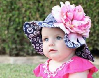 3bc074ead70 Navy Sun Hat- Baby Girl Sun Hat - Baby Floppy Hat - Sun Hat - Baby - Flower  Hat - Newborn Sun Hat - Infant Sun Hat - Newborn