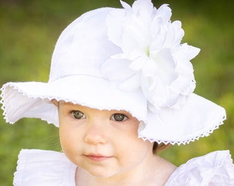 BABY GIRL PRETTY WHITE COTTON SPANISH STYLE SUN HAT WIDE BRIM GIRLS NEWBORN 6M