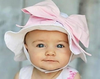 addeb835 Bow-Rae-Mi Sun Hat - Baby Girl Sun Hat - Baby Floppy Hat - Sun Hat - Baby -  Bow Hat - Newborn Sun Hat - Infant Sun Hat - Newborn - Bow