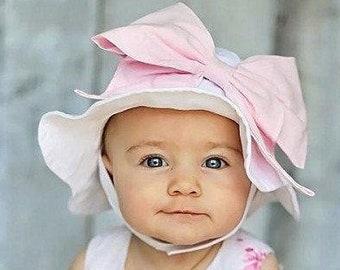 eaca9d47 Bow-Rae-Mi Sun Hat - Baby Girl Sun Hat - Baby Floppy Hat - Sun Hat - Baby -  Bow Hat - Newborn Sun Hat - Infant Sun Hat - Newborn - Bow