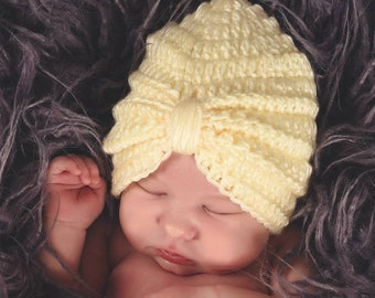 b6f780a513a Tiny Turban Hat - Baby Girl Winter Hat - Baby Hat - Turban Hat - Baby -  Flower Hat - Newborn Winter Hat - Newborn Photo Prop - Turban