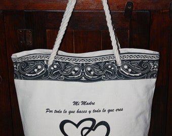 Mi Madre Giant Canvas  Tote Bag