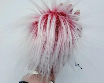White Hibiscus Faux Fur Pom Pom