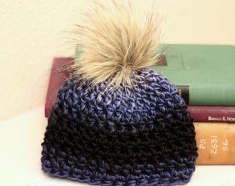 54f4e22488cad Newborn Faux Fur Pom Pom Hat