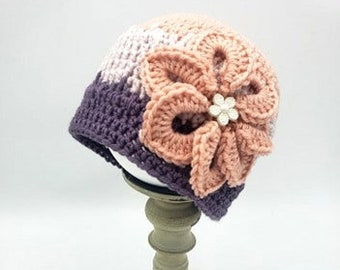 Baby Beanie Size 3 - 6 Months with flower in lavender, purple and coral