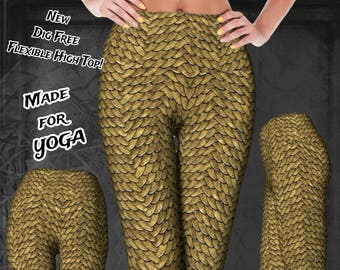 Golden Disco Dragon Scales Print Yoga High Waist Leggings