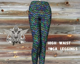 Yoga Mother of Dragons Fancy Rainbow Scales Look High Waist Leggings