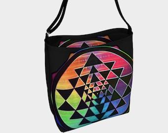 Rainbow Sri Yantra Super Stretch Multi-Use Tote Bag