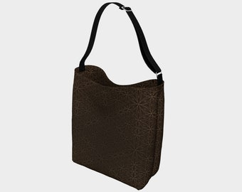 Flower of Life Pattern Super Stretch Multi-Use Tote Bag Brown & Gold