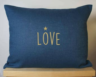 """Pillows with word """"LOVE"""" - love pillow - blue cushion - linen cushion - love cushion - Cushion cover - linen Cushion cover"""