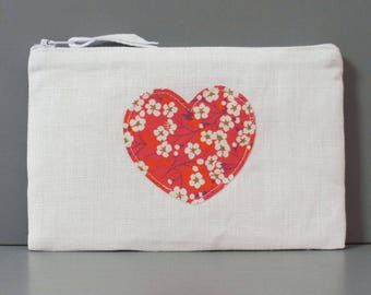 Pocket heart fabric Liberty - women gift - pouch - make-up - toiletry bag - gift for her