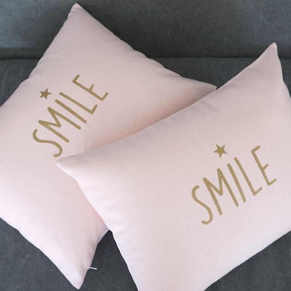 "Kissenbezug Kissenhülle /""Smile/"" rosa 40x40cm Polyester Zierkissen  Deko"