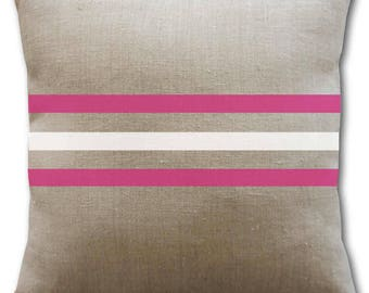 Hot pink and white striped linen cushion