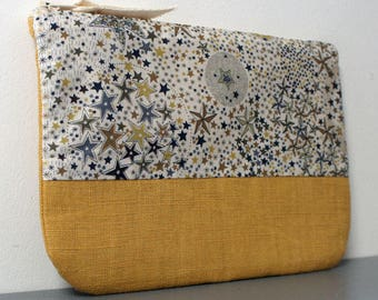 Liberty and pouch mustard linen - fabric centerpiece - clutch - pouch - gift idea for woman gift - gift for her