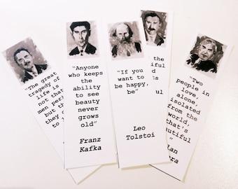 Bookmarks set, author quote, literature, Kafka, Tolstoy, black and white pics, english