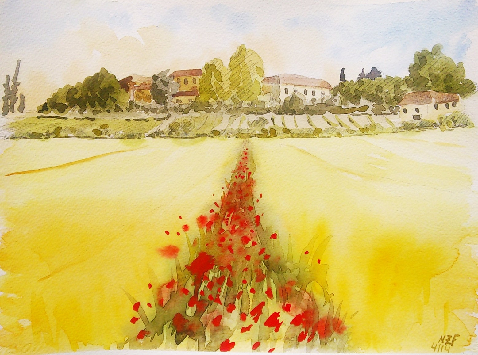 Tuscan landscape print tuscan home decor tuscany painting   Etsy