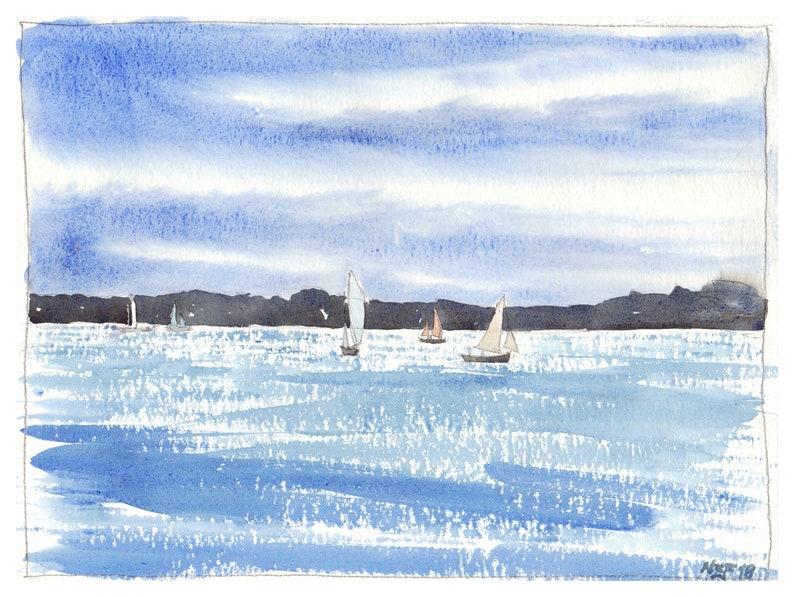 e143eba04 Seascape painting watercolor landscape sea wall art blue | Etsy