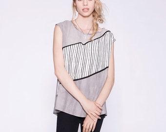 LÉA - t-shirt surdimensionné avec imprimé de lignes - gris stone