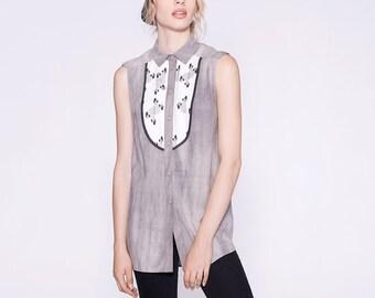 VANESSA - chemise longue sans manches pour femmes - gris stone