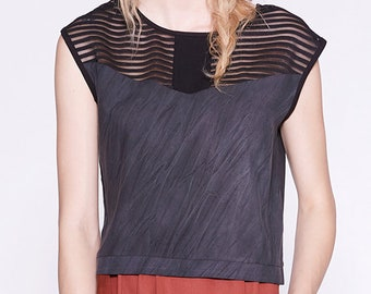 ENZO - sleeveless crop top for womens - charcoal