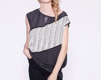 LÉA - t-shirt surdimensionné avec imprimé de lignes - gris charbon